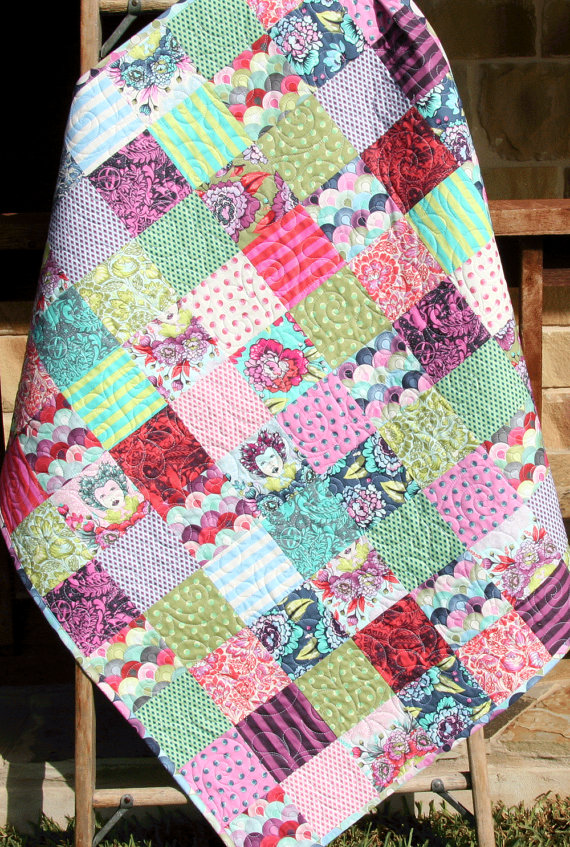 Last One Baby Quilt Modern Girl Bedding Pink Aqua Purple