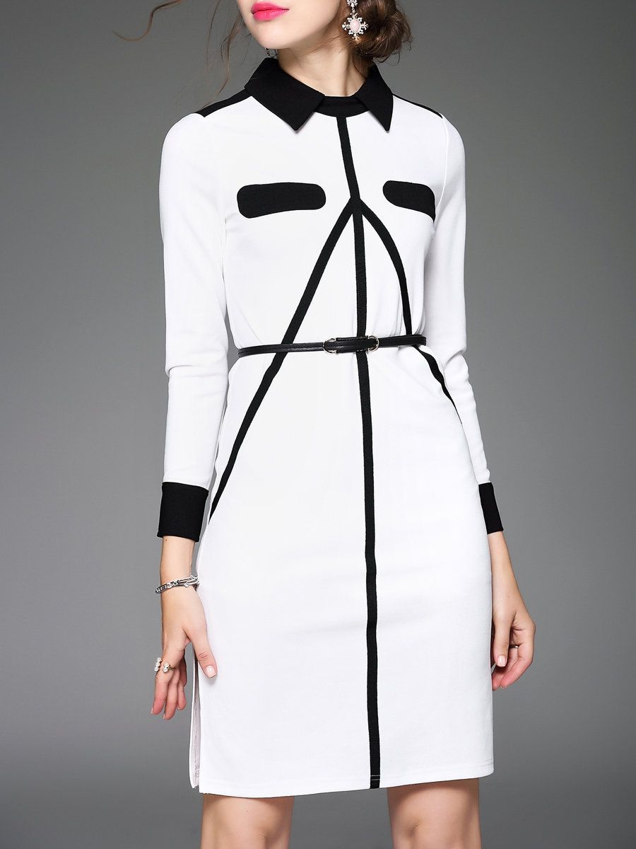 Long sleeve simple polyester colorblock midi dress midi dresses