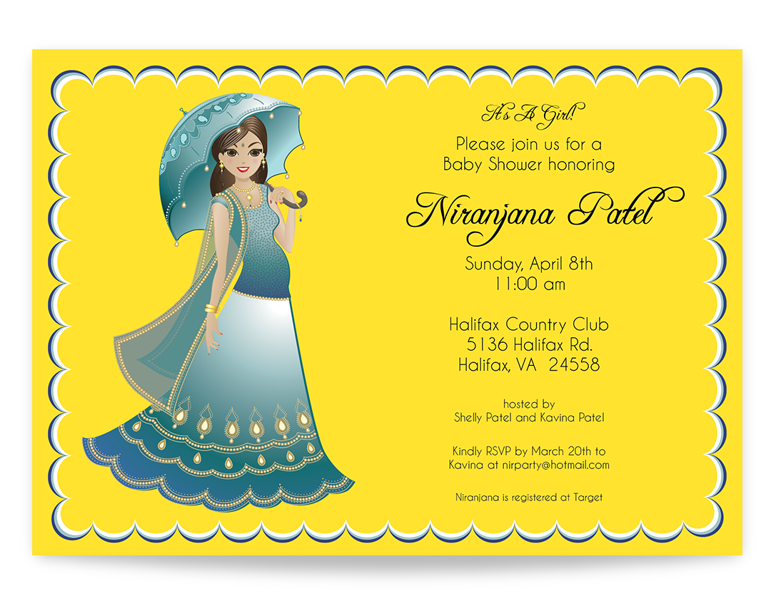 Indian Baby Shower Invitations Part - 36: Indian Baby Shower Invitation - Modern Pregnant Indian Mommy With Umbrella,  Dressed In A Stylish