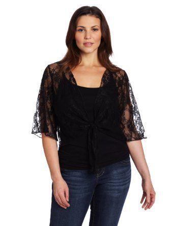 Star Vixen Women's Plus-Size 3/4 Sleeve Lace Tie Front Shrug