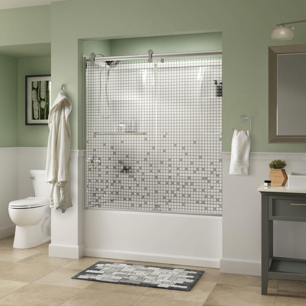 Delta Simplicity 60 X 58 3 4 In Frameless Contemporary Sliding Bathtub Door In Chrome With Mozaic Glass 2439138 Bathtub Doors Glass Shower Doors Shower Doors