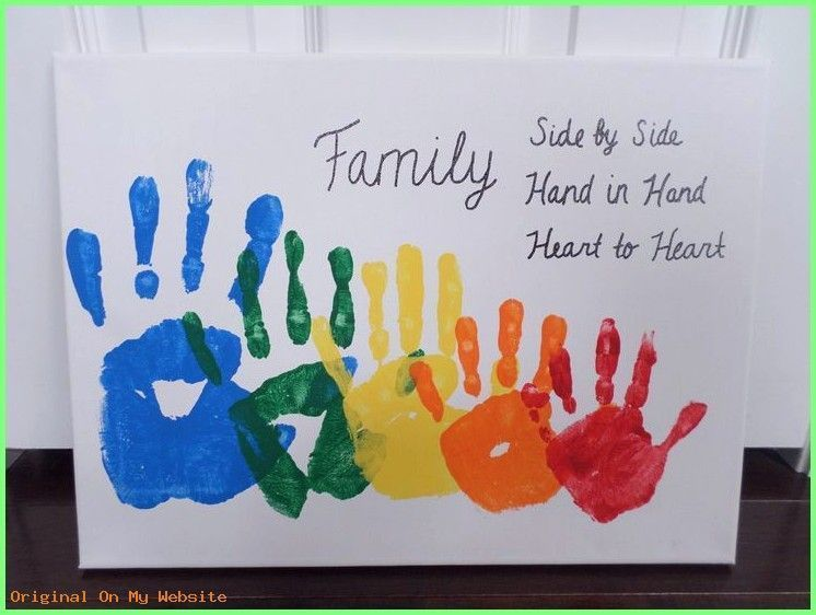 Vatertagsgeschenk Basteln Kinder 2019 | Rainbow Family Handprint Canvas #vatertagsgeschenkba…