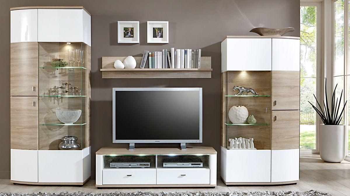 Diese Elegante Loddenkemper Wohnwand Aus Lack In Den Farben Weiss Und Soft Grau Von Besteht Einem Highboard Unterteil