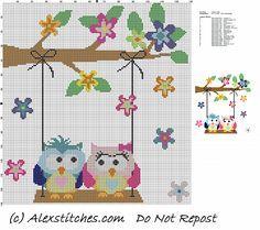 owls in love on swing cross stitch pattern