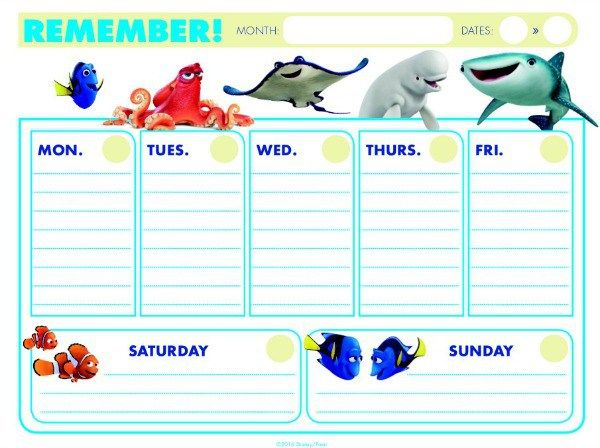 finding-dory-weekly-calendar-2 | stationary | Pinterest | Weekly ...