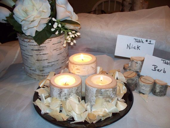 Birch wedding decor Rustic centerpiece  Unique by Northwoodswood, $35.00
