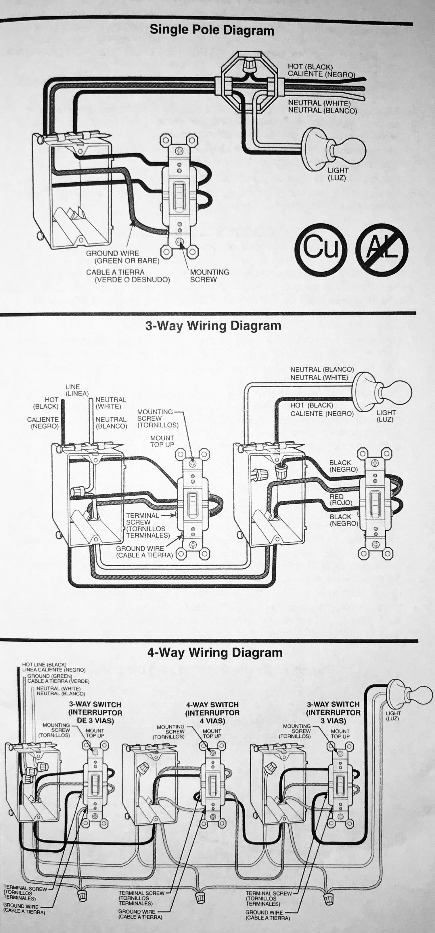 Installation of Single Pole, 3-Way, & 4-Way Switches - Wiring Diagram