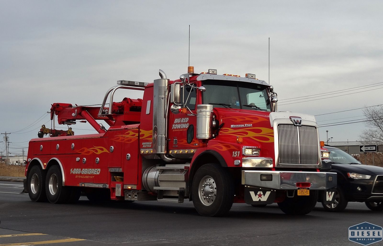 Western Star 4900 Big Red Towing With Images Tow Truck