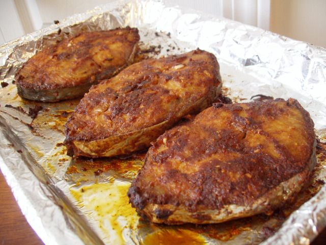 Oven baked fish recipes oven broiled baked king fish for Fish steak recipe