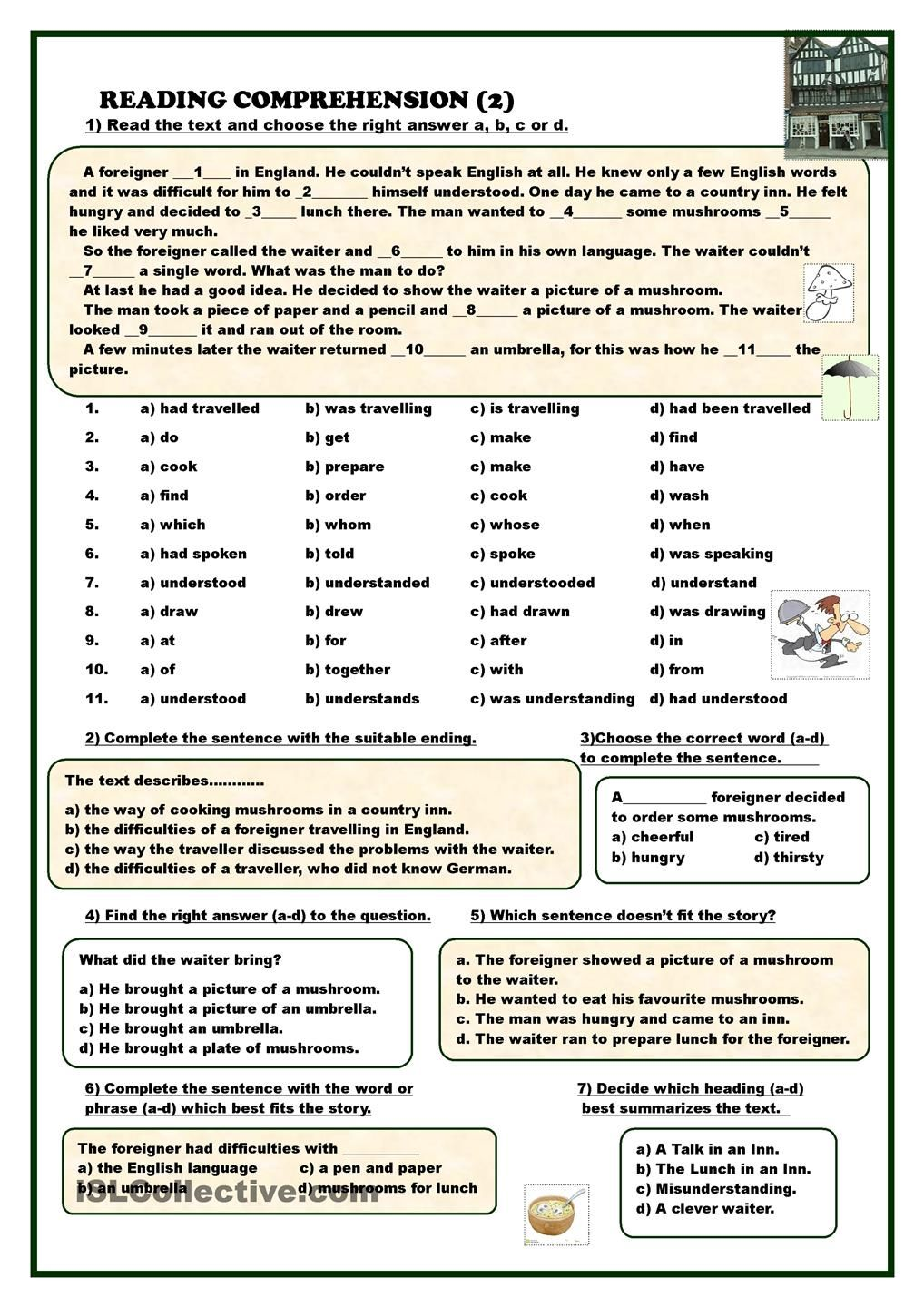 Reading Comprehension 2 Esl Worksheets Of The Day