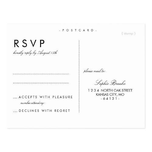 Simple Chic Wedding Rsvp Postcard Template Zazzle Com Rsvp Wedding Cards Wedding Rsvp Postcard Rsvp Postcard