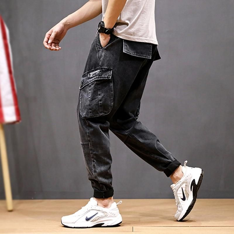 Fashion loose fit big pockets men streetwear hip hop jeans
