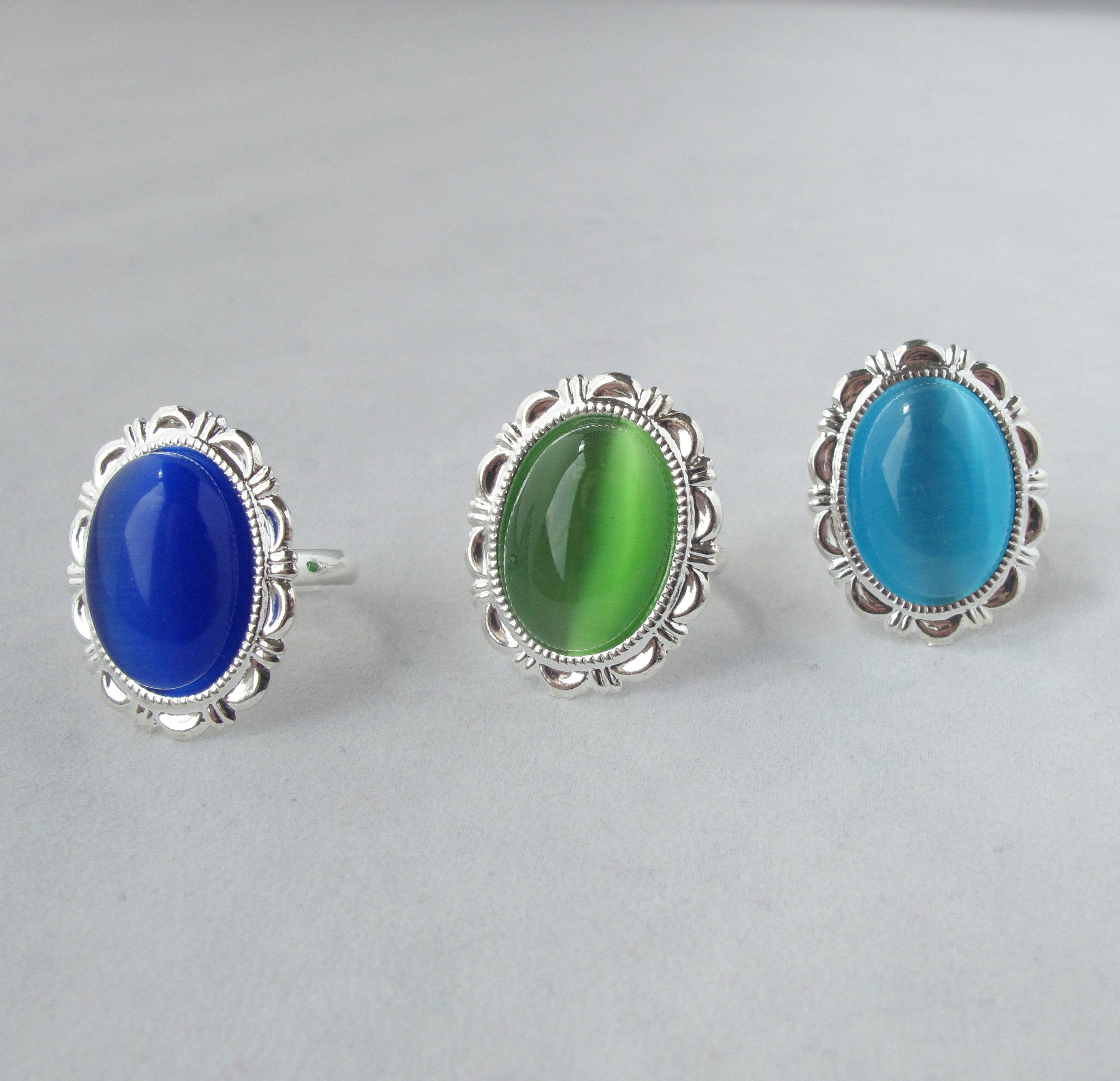 Cat's Eye Adjustable Costume Jewelry Ring with three color