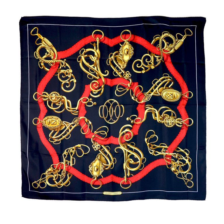 Sensational Hermes Scarf Chain Motif   From a collection of rare vintage  scarves at http  00224659881