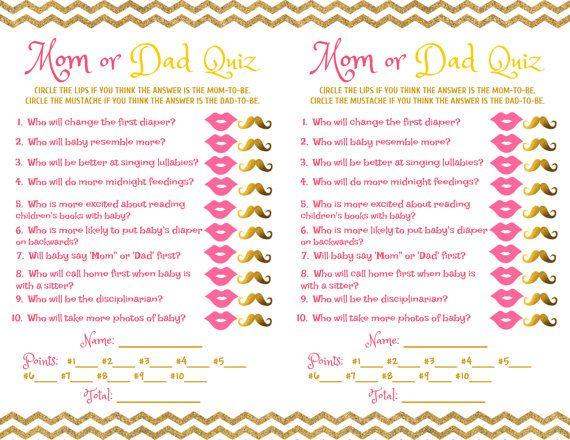 Baby Shower Game Mom Dad Quiz Pink Gold Savannah Baby Shower