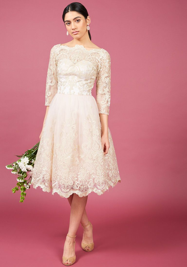 Chi chi london gilded grace lace dress in blush formalbridal