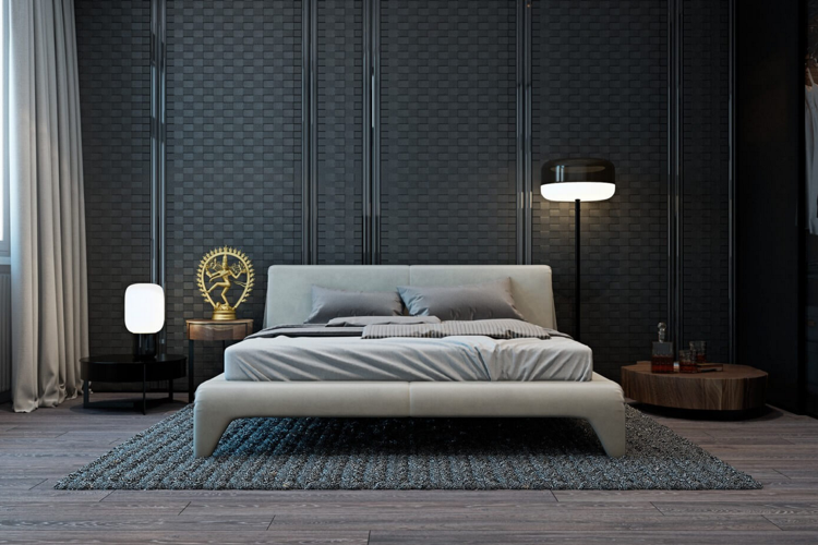 modernes polsterbett in grau und wandverkleidung mit. Black Bedroom Furniture Sets. Home Design Ideas