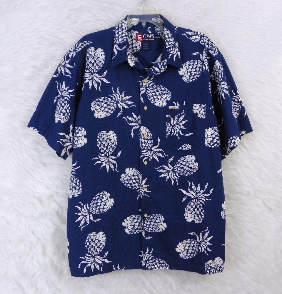 Mens RALPH LAUREN CHAPS Blue White Pineapple Print Hawaiian Camp Shirt Size XL #RalphLaurenChaps #Hawaiian