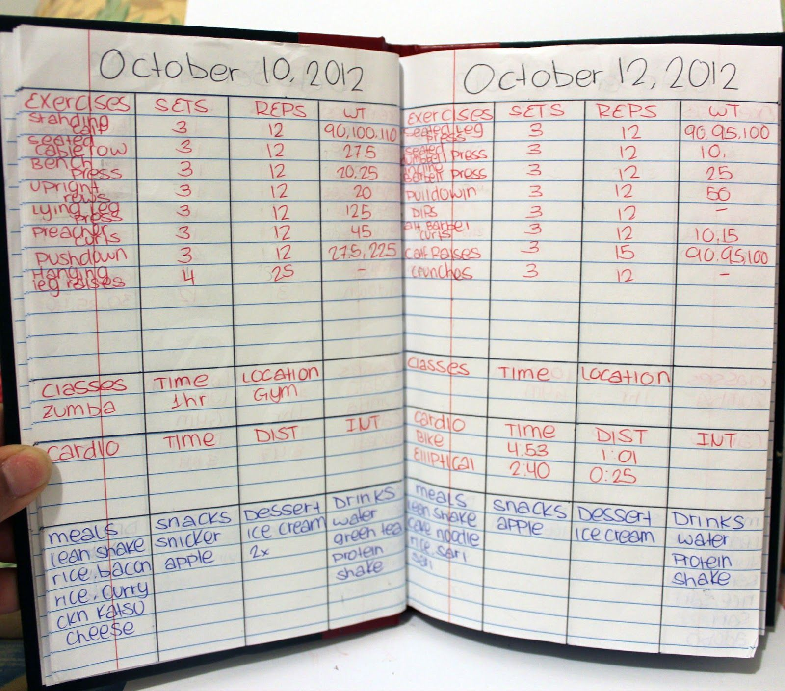i used to keep a workout log book it was really helpful this