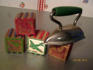 Vintage wood blocks toy iron lot 4 alphabet blocks wood green handle toy iron