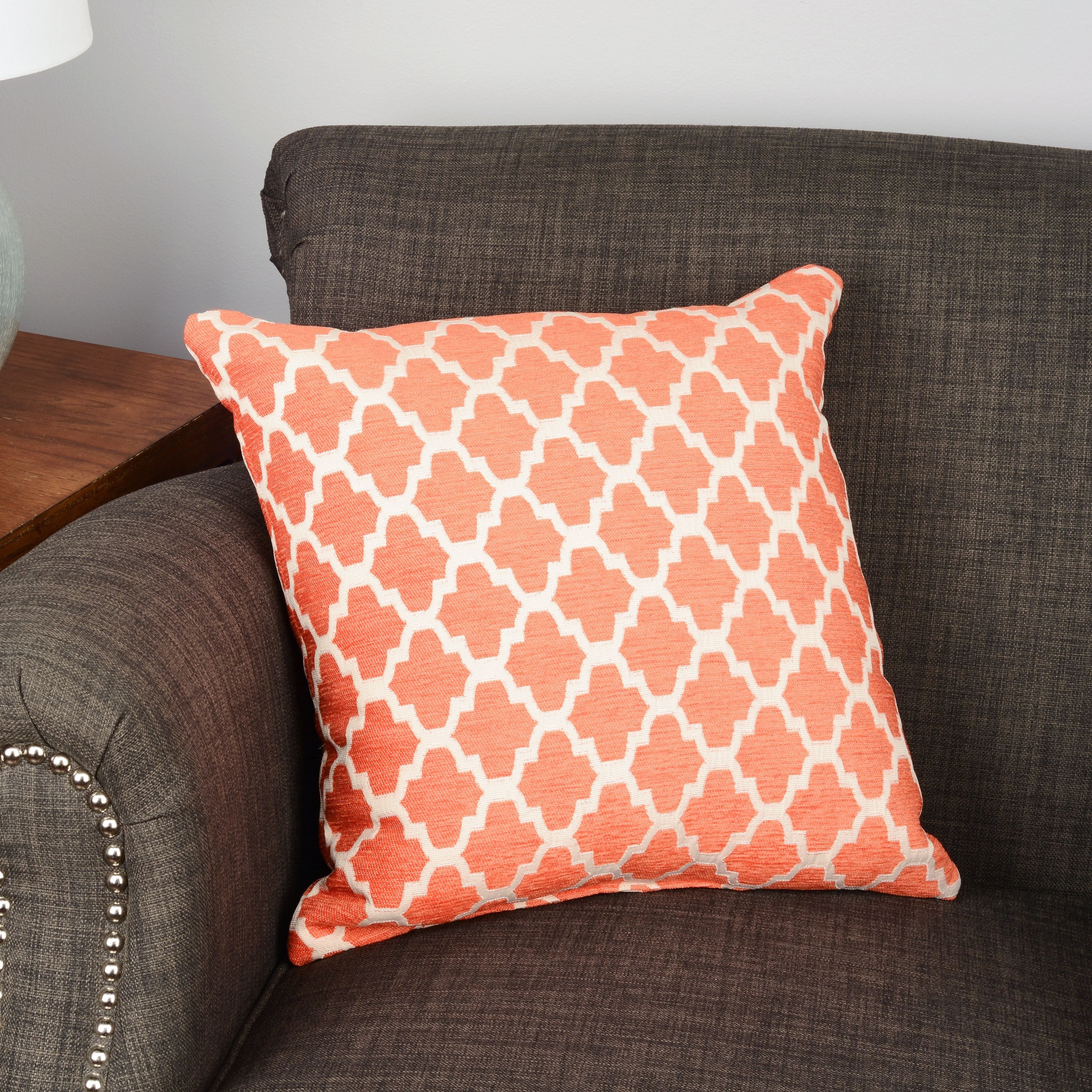 pillow geo jacquard silver throw woven catchy design line products orange pillows