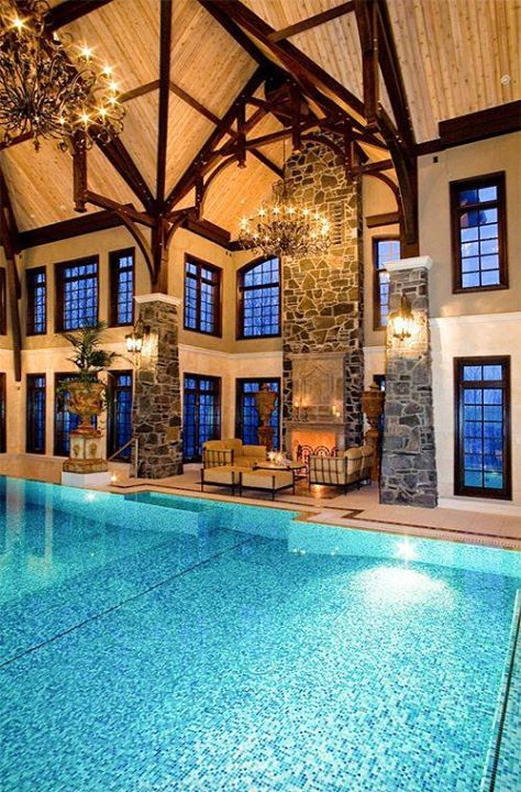 A beautiful inside pool in a mansion that really makes me want to relax there would you want this as your pool?  #pinterest #mansions