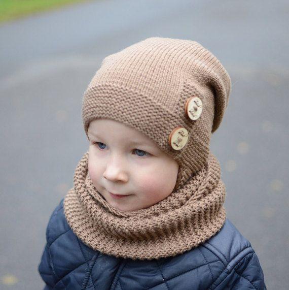 Brown Infinity Scarf For Children Toddler Scarf Merino Wool