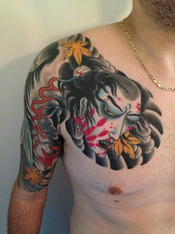 Chest To 1 4 Sleeve Koi Fish And Lotus Tattoo: Japanese Chest Panel Half Sleeve
