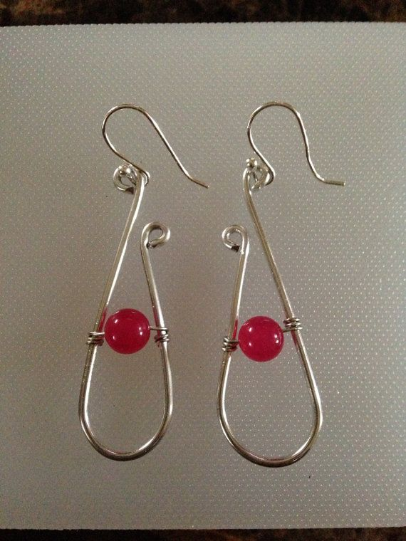Sterling Silver Wire and Pink Bead Drop Earrings Aluminum Wire and