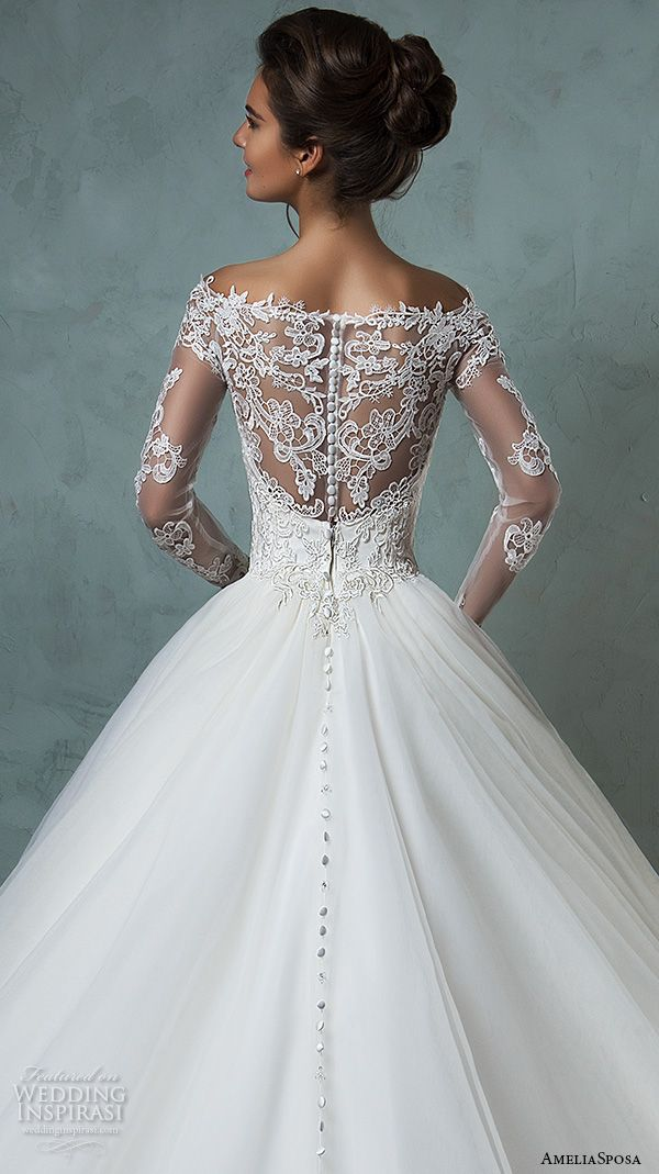 Amelia Sposa 2016 Wedding Dresses Off The Shoulder Lace Long Sleeves Embroidered Bodice Gorgeous A Line Ball Gown Dress Nova Back Close Up