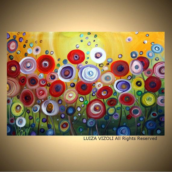 Items Similar To Abstract Flowers Painting HAPPY FLOWERS Large Giclee Embellished Canvas Modern Fantasy Whimsical Floral On Etsy