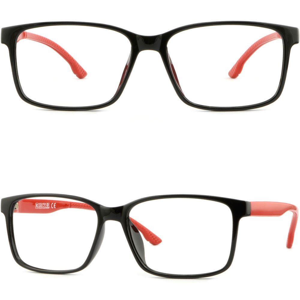 8ff3c6dac18 Thin Light Bendable Plastic Frame Square Men Women Prescription RX Glasses  Black  Unbranded