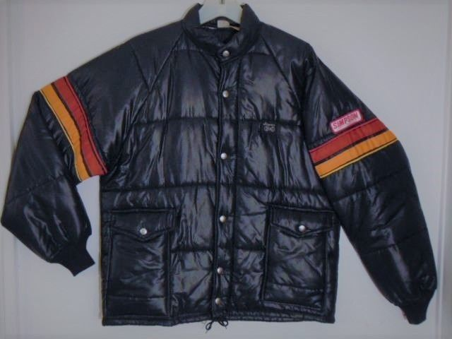 b2bf4cf7d48c ORIGINAL TRUE VINTAGE 1970s - EARLY 1980s ERA SIMPSON SAFETY EQUIPMENT  RACING GEAR SHINY BLACK NYLON STRIPED SLEEVE EMBROIDERED PATCH JACKET  PUFFER COAT ...