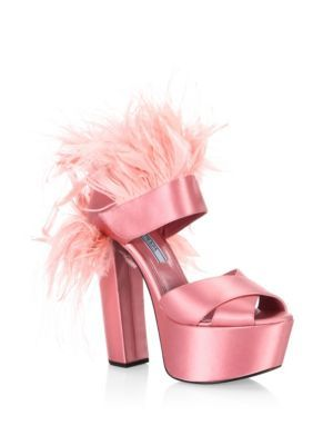 c4e3fd36f7c6 PRADA Feather-Trim Satin Platform Sandals.  prada  shoes