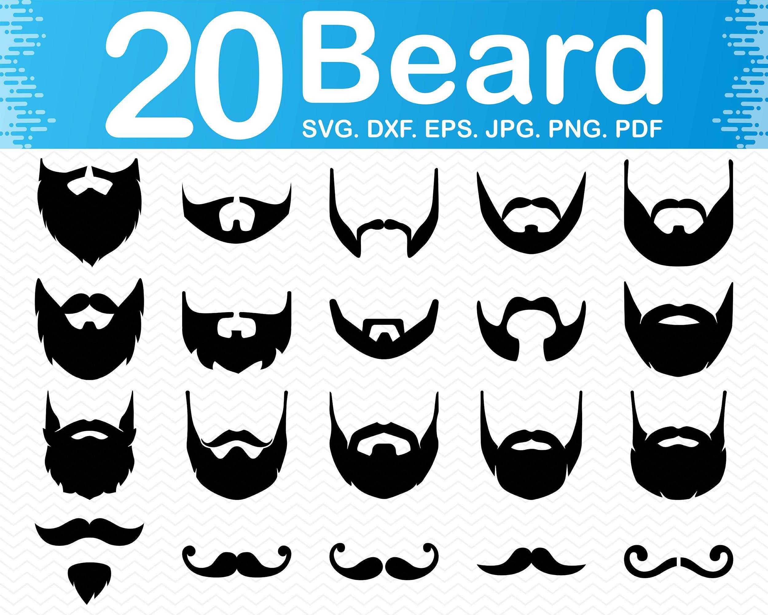 Beard svg Mustache svg Bearded man svg files for cricut