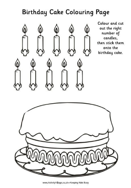 Birthday cake colouring activity Birthday Preschool theme