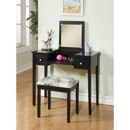 Linon Lattice Vanity Set Multiple Colors: Linon Home Decor Vanity Set With Butterfly Bench, Black