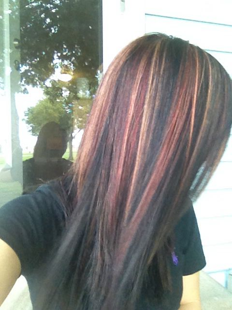 Dark Hair With Red And Blonde Hi Lights Hair Edgy Hair Color
