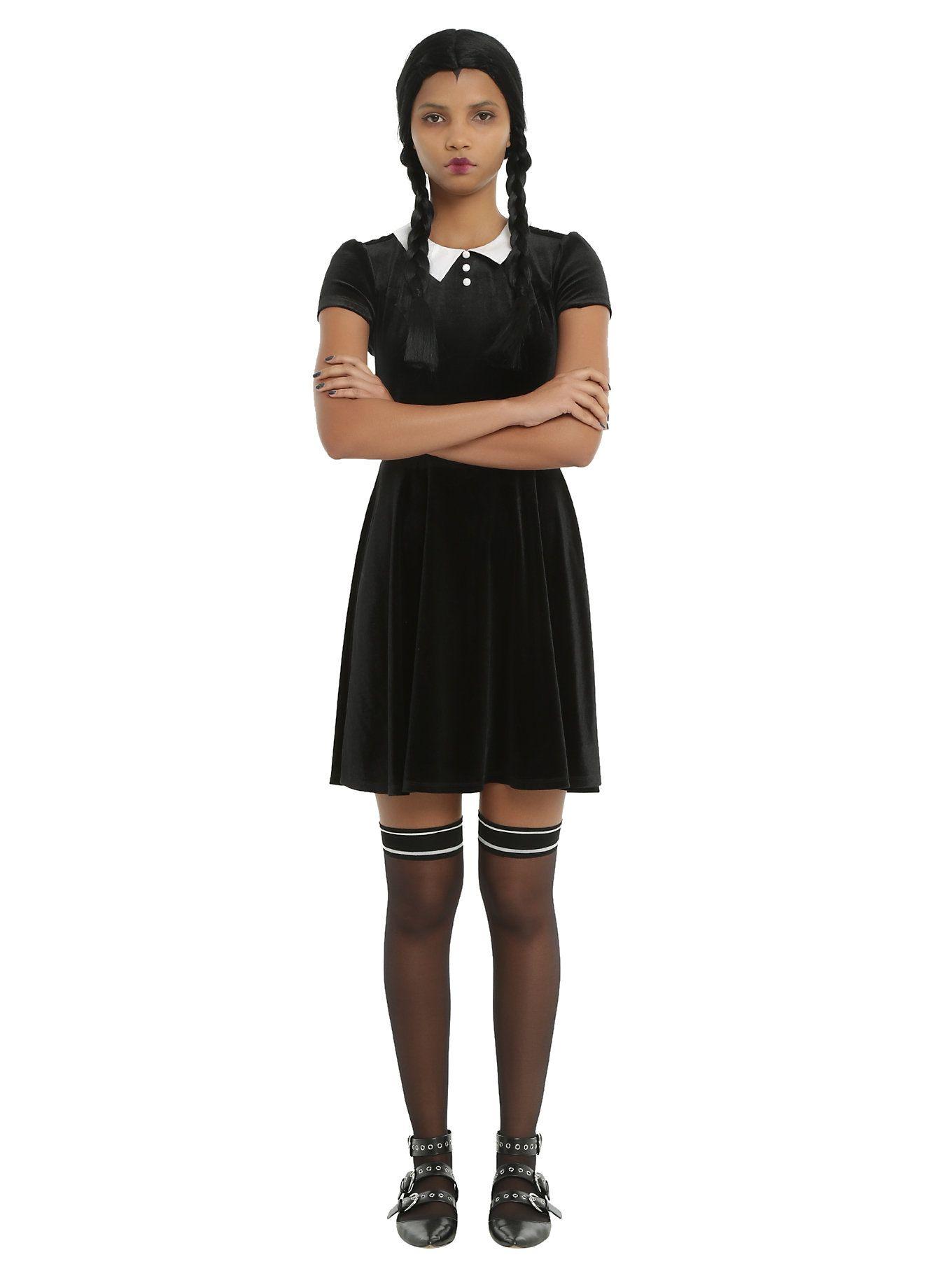 Black \u0026 White Collar Velvet Dress
