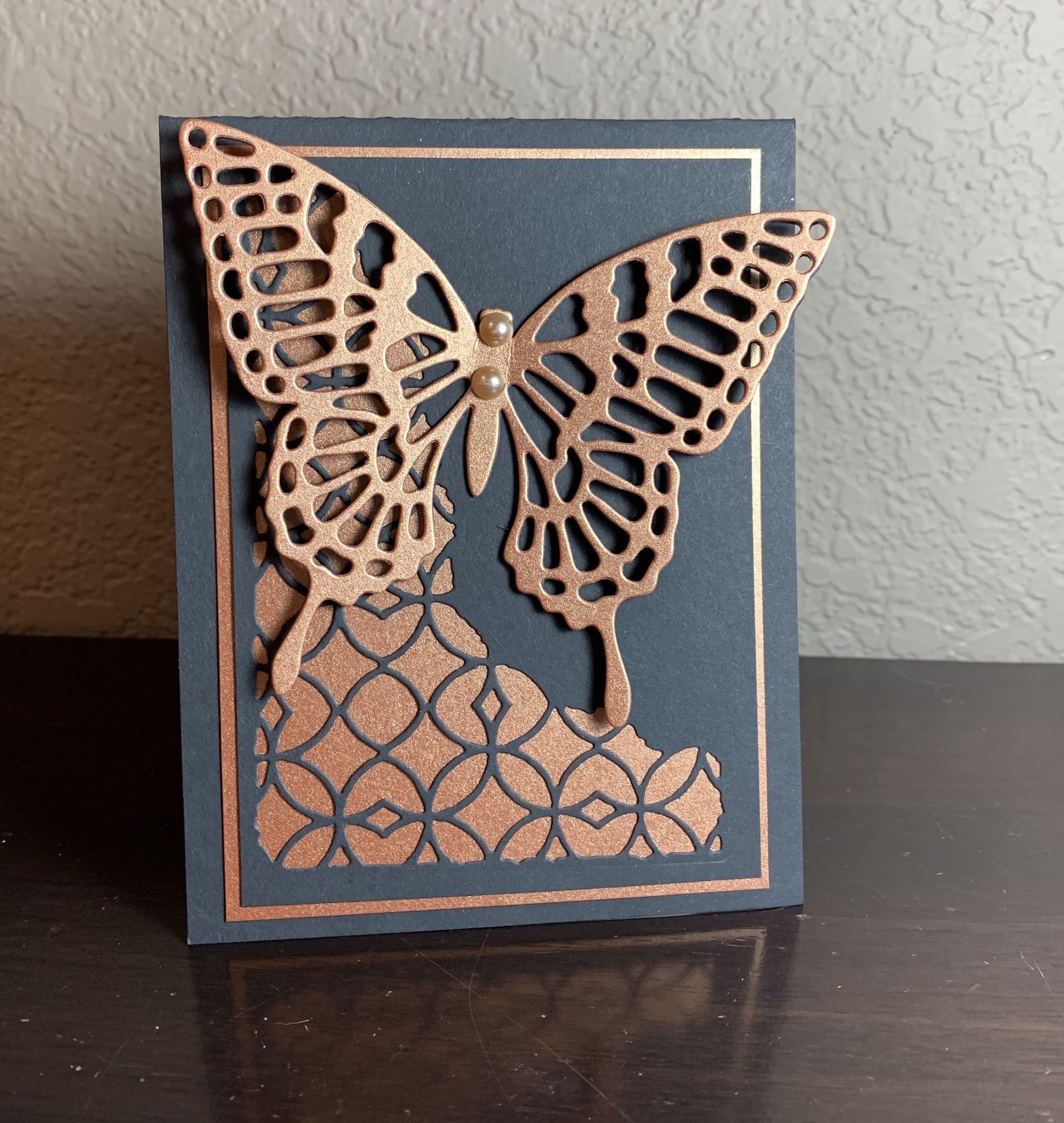 Yellow Orange Burgundy Butterfly Blank Greeting Card
