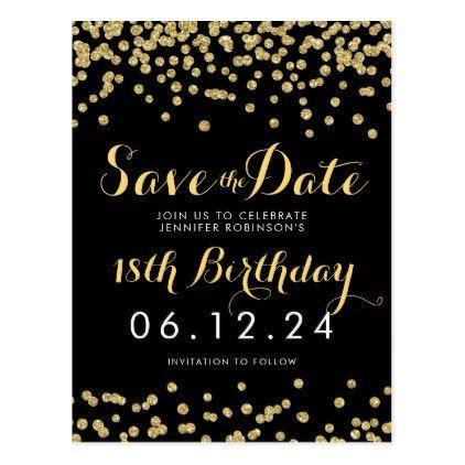 Birthday Save The Date Gold Glitter Confetti Black Announcement