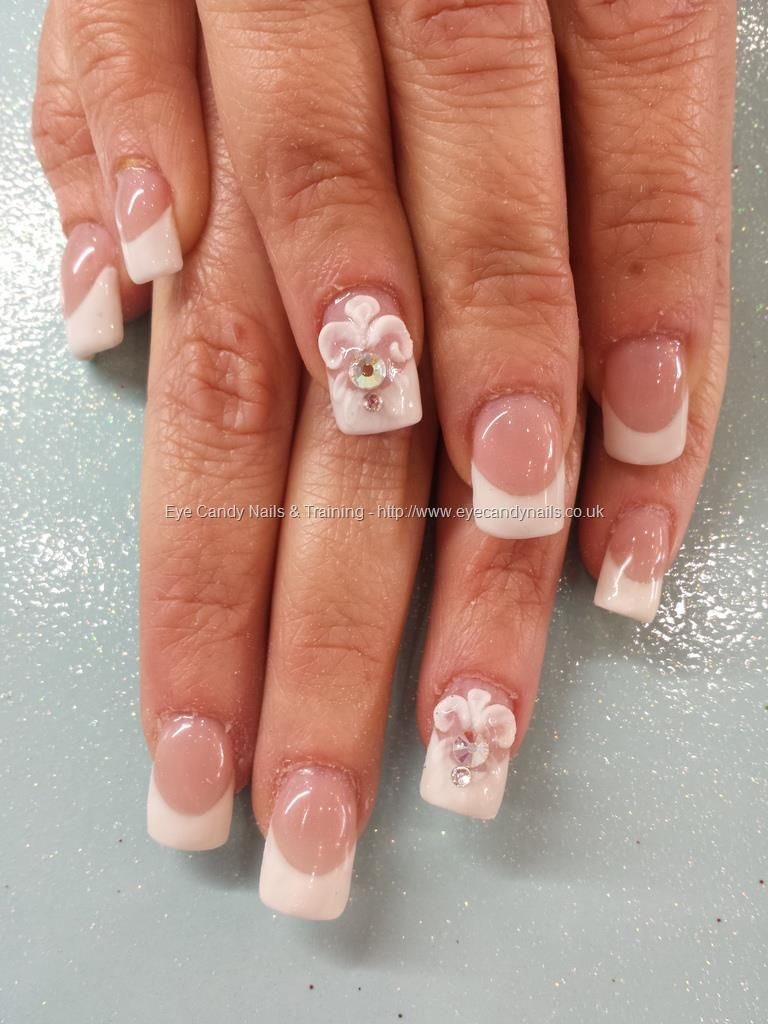 Extended nail beds with white gel french and 3d acrylic nail art ...
