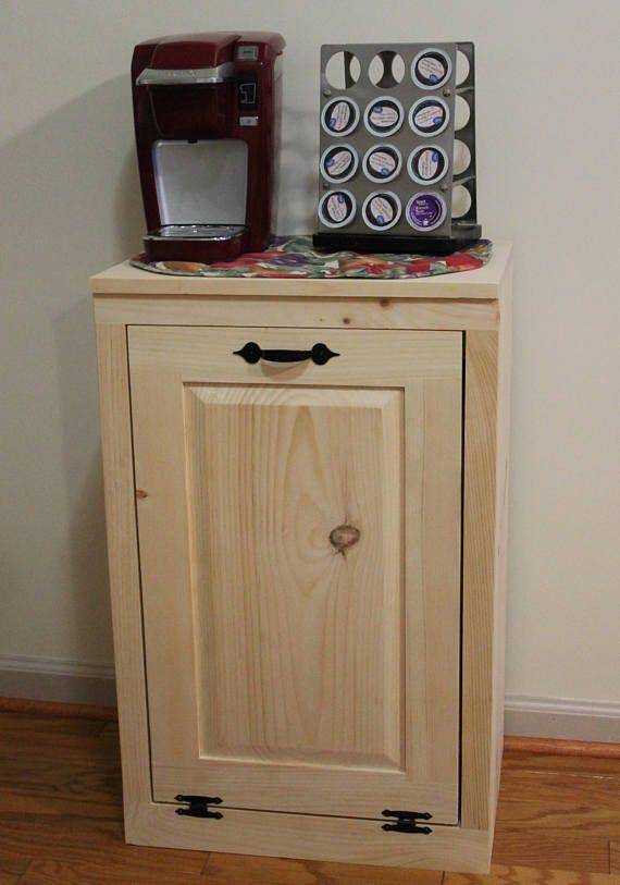Wooden Tilt Out Trash Can   Trash Bin   Wood Trash Box   Cabinet To Hide  Trash   Kitchen Garbage   Tip Out Trash Can   Kitchen Laundry Room
