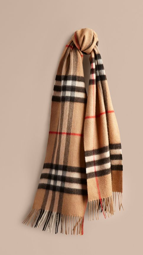 551220785 The Classic Check Cashmere Scarf in Camel | casmir | Burberry scarf ...