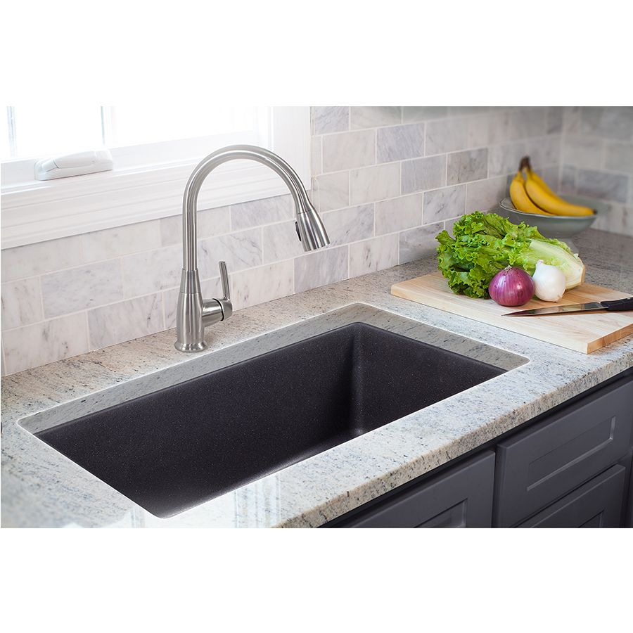 Shop Franke Primo 33 In X 22 In Graphite Single Basin Granite Drop In Or Undermount 4 Hole Commercial Best Kitchen Sinks Kitchen Remodel Granite Kitchen Sinks