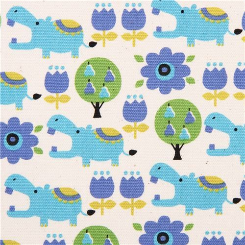natural-colored hippo flower oxford fabric Kokka Japan