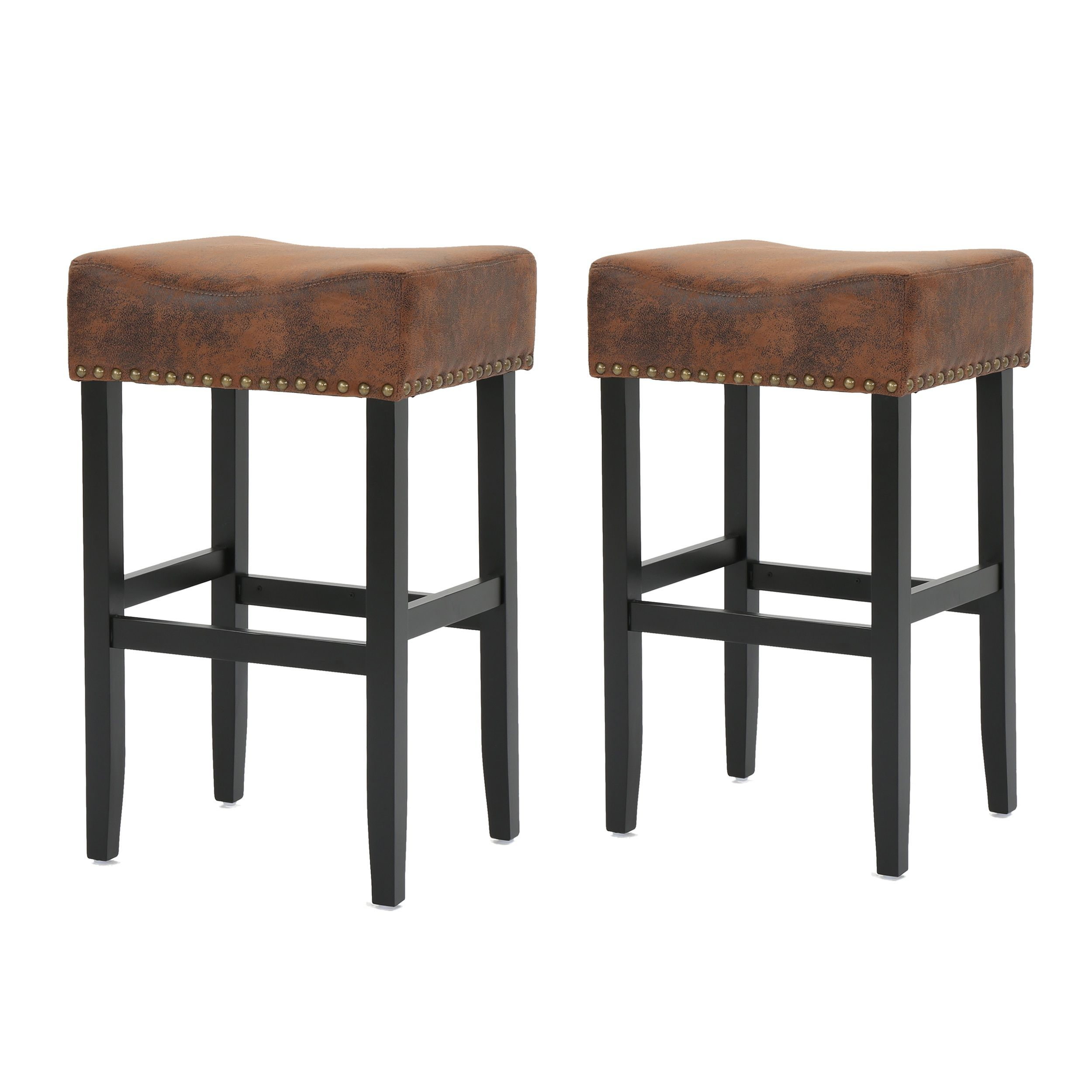 Lisette 30 Inch Studded Fabric Backless Barstool By Christopher