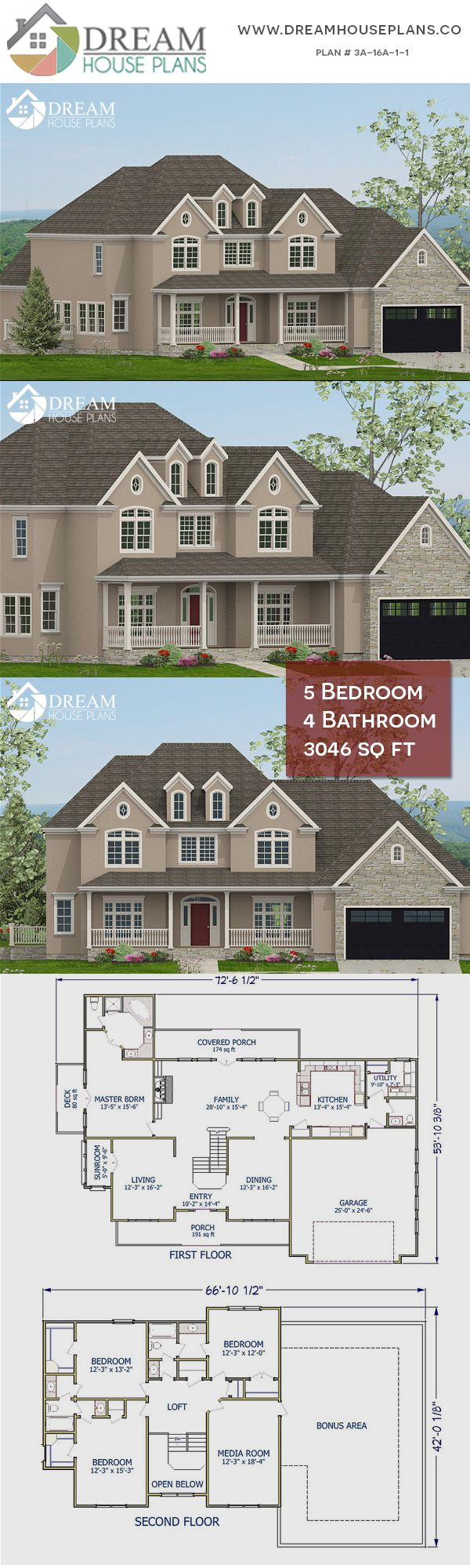 Dream House Plans Affordable Yet Luxury Southern 5 Bedroom 3046 Sq Ft House Plan With Basement Op Southern House Plans New House Plans Dream House Plans