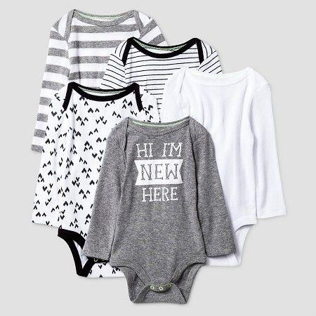 4ae03c176 Baby Long-Sleeve 5 Pack Bodysuit Baby Cat   Jack™ - Heather Grey Ebony NB    Target