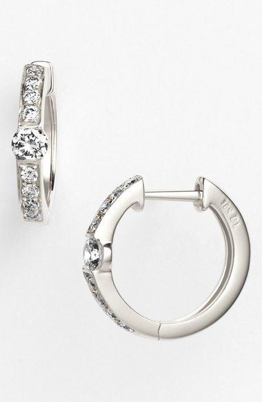 Bony Levy 'Linea' Small Diamond Hoop Earrings (Nordstrom Exclusive) available at…